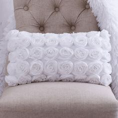 SHABBY CHIC THROW Pillow  White Chiffon Rosettes.Decorative Accent Pillow.Beautiful Oblong Designer Pillow.Unique Bedroom and Home Decor