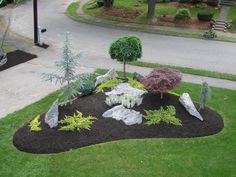 simple landscape designs with rock beds - Google Search