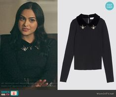 Sandro Sweater with Velvet and Rhinestones worn by Veronica Lodge (Camila Mendes) on Riverdale Casual Work Outfits, Stage Outfits, Classy Outfits, Chic Outfits, Fashion Outfits, Winter Outfits, Veronica Lodge Outfits, Veronica Lodge Fashion, Riverdale Fashion