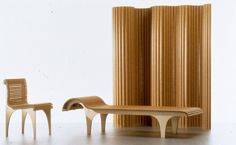 The Carta furniture series by Shigeru Ban Architects is made with plywood legs and a seating surface comprised of small paper tubes. The series includes a chair, stool, chaise lounge, and a room partition. Nomadic Furniture, Modular Furniture, Unique Furniture, Furniture Design, Cardboard Chair, Shigeru Ban, Lighting Concepts, Chair Design, Teak
