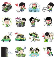 GrabTaxi Happy boy & Happy girl - http://www.line-stickers.com/grabtaxi-happy-boy-happy-girl/