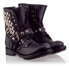 Ash Ryanna  Womens Stud Boot Black Leather 330351 (001)