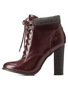 Qupid Herringbone-Collared Heeled Combat Booties: Charlotte Russe