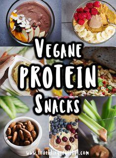 15 vegane Protein-Snacks – mindestens 10g Eiweiß. Durch vegane Ernährung kann man auch genügend Protein aufnehmen. Ich zeige euch 15 vegane Snacks, mit denen ihr euren Eiweißbedarf durch pflanzliches Protein decken könnt. #vegan #protein #fitnesssnack