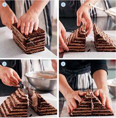 How Gesine assembles her Chocolate Pyramid Cake. Recipe: http://www.scribd.com/doc/128690906/Bake-It-Like-You-Mean-It-by-Gesine-Bullock-Prado-Excerpt