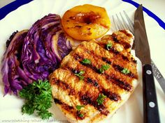 Grilled Pork Chops, Cabbage and Peaches on a George Foreman Grill! by watching-what-i-eat #Pork_Chops #George_Forman_Grill #watching_what_i_eat