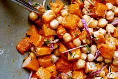 warm butternut squash and chickpea salad--One of my favorite recipes. I recommend to slice the onion very, very thinly and use a bit less than what the recipe calls for. Make sure that the squash is caramelized on at least one side! Best served on a bed of steamed kale. Yum!