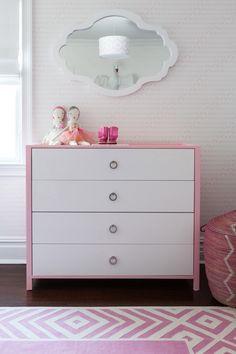 Love the idea of a two color dresser. Madeline Weinrib Pink Darlington Cotton Carpet, via Sissy + Marley