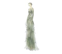 Elie Saab long aqua green dress in tulle, partially embroidered with pearls, stones and sequins. Long sleeves, rounded neckline, and skirt with multiple layers