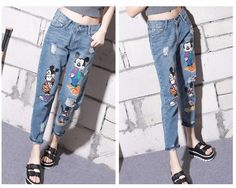 cd37103a4aa Jeans Women Casual Denim Ankle-Length Boyfriend Pants Women Print Pants  Casual Harem Pants Female Plus Size 4Xl 5Xl
