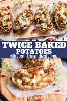 Twice Baked Potatoes with Bacon and Caramelized Onions: Say hello to the side dish of your dreams! Packed with bacon, caramelized onions, gruyere cheese, and thyme, these twice baked potatoes are easy to make and are a showstopper of a side dish! Easy Twice Baked Potatoes, Best Baked Potato, Making Baked Potatoes, Perfect Baked Potato, Baked Potato Recipes, Bacon Recipes, Seafood Recipes, Salad Recipes, Best Side Dishes