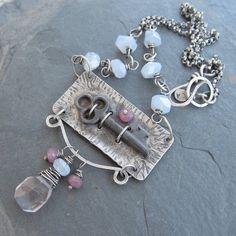 Sterling Skeleton Key Necklace Silver Antique Vintage by artdi, $385.00