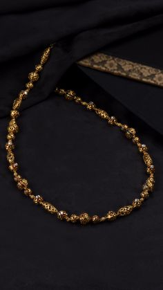 AZVA necklace of gold beads accented with enamel Gold Necklace Simple, Gold Jewelry Simple, Gold Necklaces, Gold Bangles Design, Gold Jewellery Design, Bridal Jewellery, Pearl Necklace Designs, Gold Earrings Designs, Gold Bracelet For Women