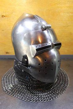 SCA Knight's Armor Helmet HMB Buhurt Helmet IMCF | Etsy Medieval Helmets, Medieval Armor, Elmo, Knights Helmet, Full Face Helmets, Knight Armor, Armours, Helmet Design, Fantasy Armor