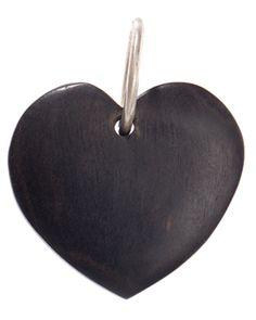 Pendente em Prata com coração em Ébano