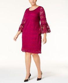 16942425c8b Alfani Womens Plus Size 20W Lace Crochet Bell-Sleeve Shift Dress Magenta   109  Alfani