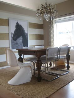 Chandy, stripped wall, horse pic, rug