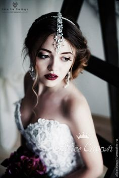 """Купить Свадебная тика-ободок и серьги """"Прия"""" - белый, снежный, полупрозрачный, невеста, свадьба"""