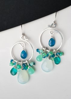 Final Sale - Silver Spiral Earrings w/ Tropical Ocean Gems, Chrysoprase, Aqua Chalcedony, Apatite, Teal Quartz: Asha Wire Wrapped Earrings, Wire Earrings, Wire Jewelry, Earrings Handmade, Jewelry Crafts, Beaded Jewelry, Jewelery, Handmade Jewelry, Jewelry Ideas