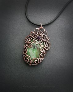 jewelry, pendant, copper pendant, large pendant, handmade, wire wrap,