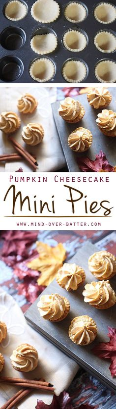 A flaky, buttery pie dough is piled high with a pillow soft pumpkin cream cheese filling. These Pumpkin Cheesecake Mini Pies are packed with pumpkin spice! (Creative Baking Thanksgiving)