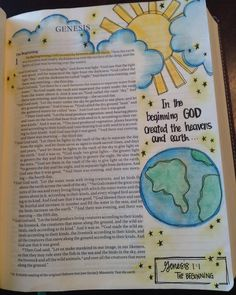In the beginning GOD created the heavens and earth #journalbible #bibleart #biblejournaling #illustratedfaith #52weeksofpinterest