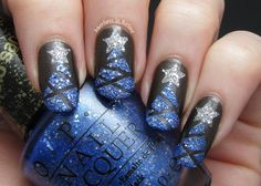 "Textured Christmas Tree Tape Mani using #MariahHoliday #LiquidSand shade ""Kiss Me At Midnight."""