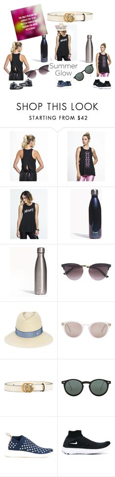 """""""Summer Shiny..."""" by masarambhavani ❤ liked on Polyvore featuring S'well, Gucci, Maison Michel, Steven Alan, Spitfire, adidas Originals, NIKE and Puma"""