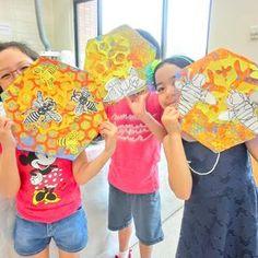 finished their themed art project. Elementary Art Rooms, Art Lessons Elementary, Kindergarten Art Projects, School Art Projects, Primary School Art, 2nd Grade Art, Insect Art, Bee Art, Spring Art