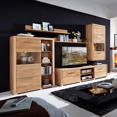 Wohnwand Valmiera I (5-teilig) - inkl. Beleuchtung - Kernbuche teilmassiv Decor, Furniture, Interior, House, Home Decor, Room, Entryway