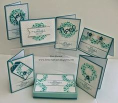 Stampin' Up! ... handmade cards ... Wonderous Wreath ... variety of formats ... for a card class ....