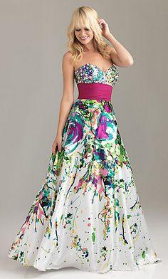 Gorgeous Long Strapless Print Dress