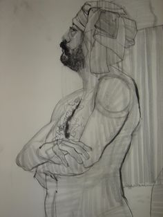Charcoal on Velum-- Cambria CA. Figure Drawing, Charcoal, Statue, Drawings, Art, Sketches, Art Background, Kunst, Draw