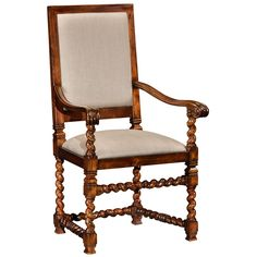 Jonathan Charles Carolean Style Chair with Upholstered Back