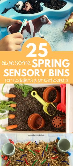 The best spring sensory bins for toddlers and preschoolers! These easy spring sensory bins will engage your toddler in fun and educational sensory play.