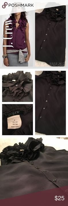 J. Crew Lovely 100% Silk Dark Gray Blouse 👚 J. Crew Lovely 100% Silk Dark Gray Blouse 👚  Perfect condition. No flaws. Great Blouse to wear to work or to dress down. Great quality! J. Crew Tops Blouses