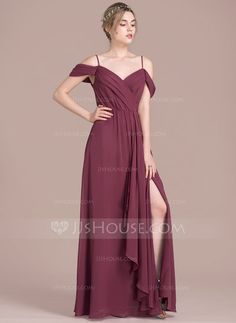 A-Line/Princess V-neck Floor-Length Bow(s) Split Front Cascading Ruffles Zipper Up at Side Spaghetti Straps Sleeveless No Mulberry Spring Summer Fall Winter General Plus Chiffon Height:5.7ft Bust:33in Waist:24in Hips:34in US 2 / UK 6 / EU 32 Bridesmaid Dr