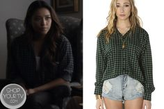 Shop Your Tv: Pretty Little Liars: Season 4 Episode 10 Emily's Green Checkered Shirt Izzie Stevens, Pretty Little Liars Seasons, Greys Anatomy Characters, Meredith Grey, Season 4, Ruffle Blouse, Shirts, Outfits, Clothes