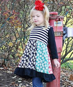 Look at this Be Girl Clothing Black & White Daisy Knit Dress - Infant, Toddler & Girls on #zulily today!