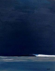 Surf art - dark ink sky solo right-hand wave abstract seascape abstract ocean painting abstract water painting abstract ocean drawing