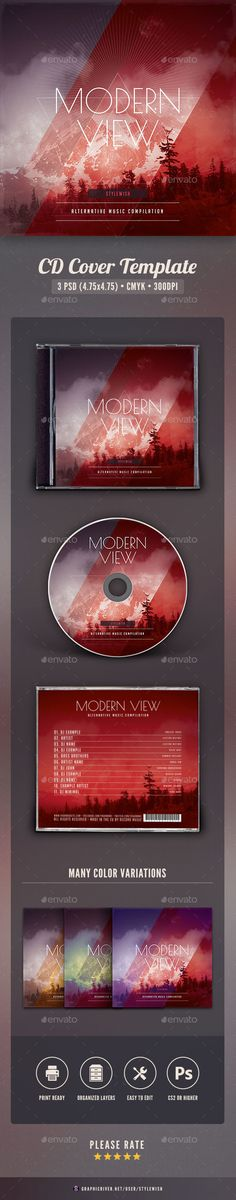 Modern View CD Cover Artwork Template PSD. Download here: http://graphicriver.net/item/modern-view-cd-cover-artwork/16138018?ref=ksioks