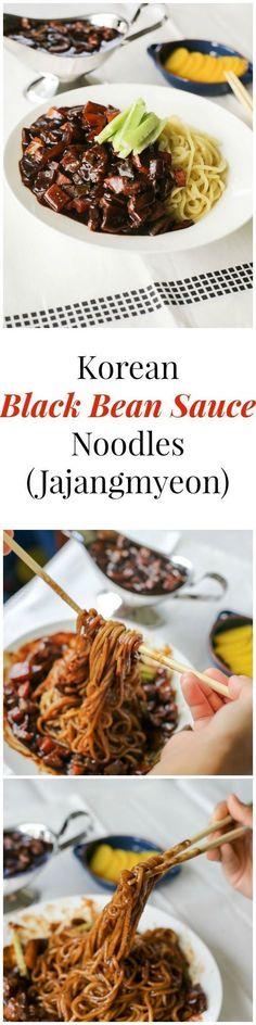 Korean Black Bean Sauce Noodles (Jajangmyeon) | http://MyKoreanKitchen.com