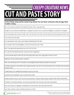 Halloween Third Grade Comprehension Writing Stories Worksheets: Cut and Paste: Sequencing Story Events