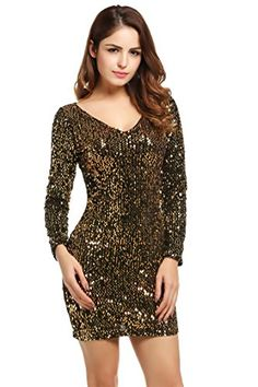 Meaneor Women's Sequin V-Neck Long Sleeve Bodycon Sheath Dress, X-Large, Gold >>> Find out more about the great product at the image link.