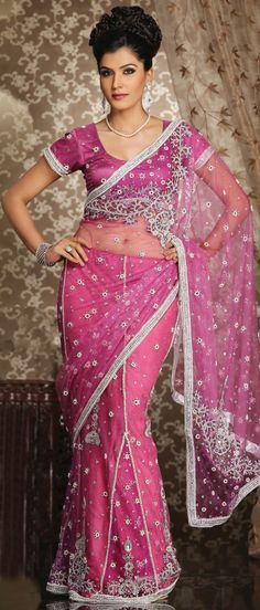 #Pink Net #Lehenga Style #Saree With #Blouse @ $143.28