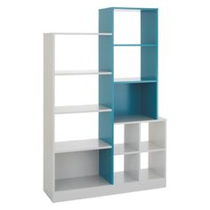 MILES Linen white and agate blue tall shelving unit