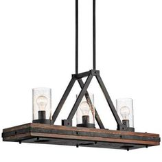 Kichler Colerne 3 Light 36  Wide Linear Chandelier with Seedy Glass Shades - Auburn Stained
