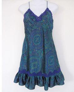 Victoria's Secret Chemise Small Gold Label Purple Paisley Vintage Nightgown S #VictoriasSecret #BabydollChemise