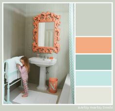 Teal and coral with gray - good colors together. This room doesn't do them justice.
