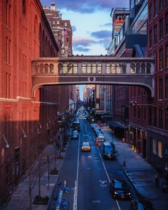 An NYC street just before sunset
